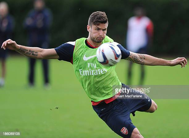 Olivier Giroud of Arsenal during a training session at London Colney on October 28, 2013 in St Albans, England.