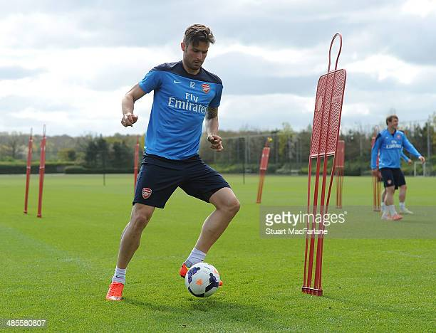 Olivier Giroud of Arsenal during a training session at London Colney on April 19, 2014 in St Albans, England.