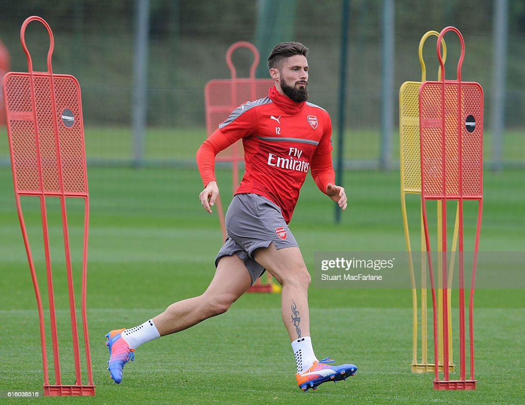 Olivier Giroud of Arsenal during a training session at London Colney on October 21, 2016 in St Albans, England.