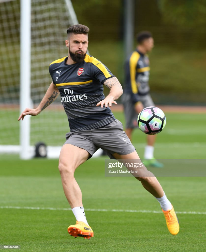 Olivier Giroud of Arsenal during a training session at London Colney on May 20, 2017 in St Albans, England.