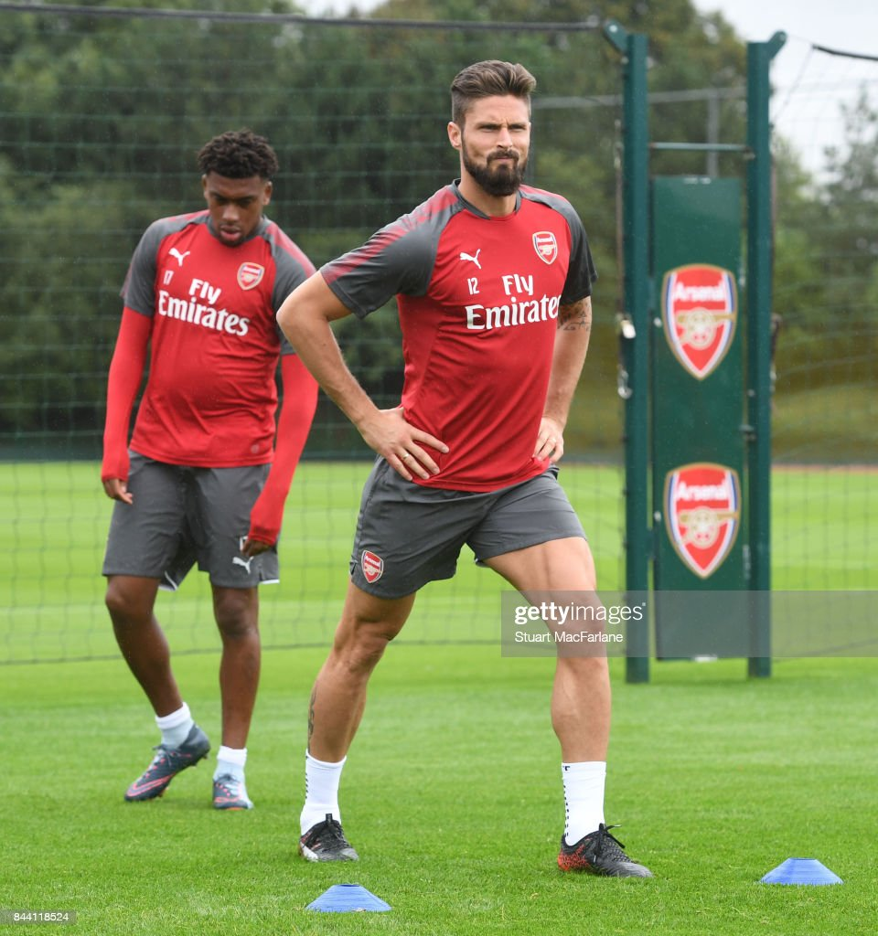 Olivier Giroud of Arsenal during a training session at London Colney on September 8, 2017 in St Albans, England.