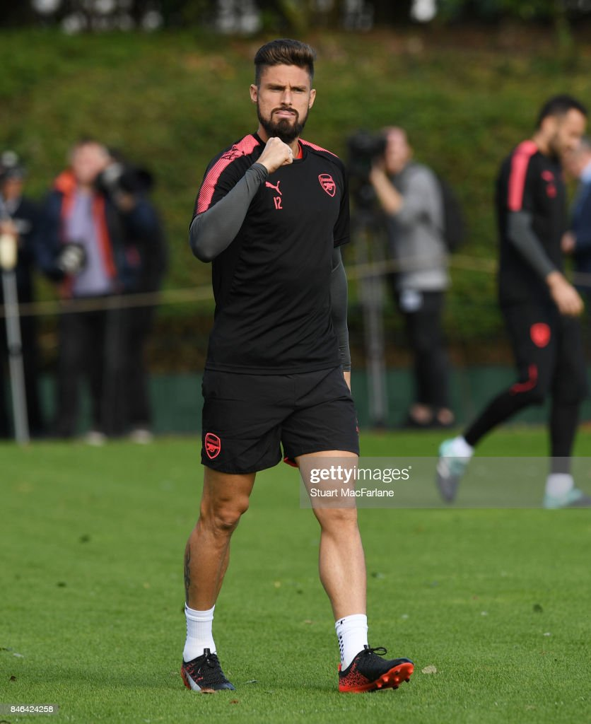Olivier Giroud of Arsenal during a training session at London Colney on September 13, 2017 in St Albans, England.