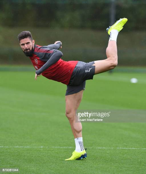 Olivier Giroud of Arsenal during a training session at London Colney on November 4 2017 in St Albans England