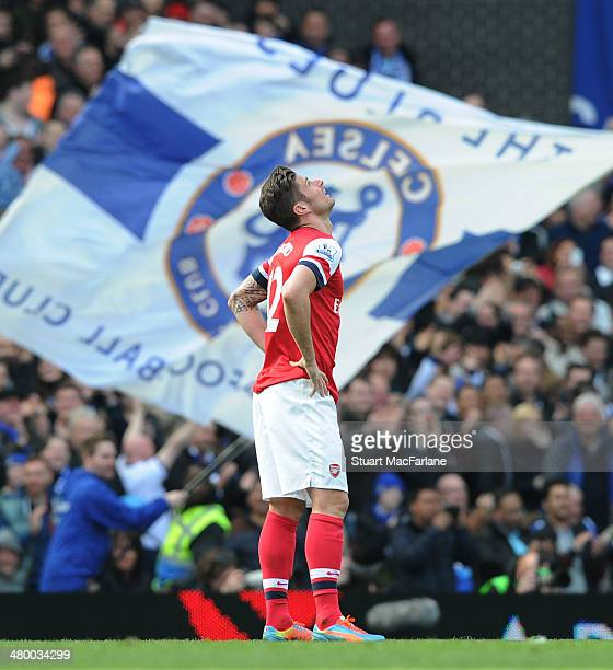 Olivier Giroud of Arsenal during the Barclays Premier League match between Chelsea and Arsenal at Stamford Bridge on March 22 2014 in London England