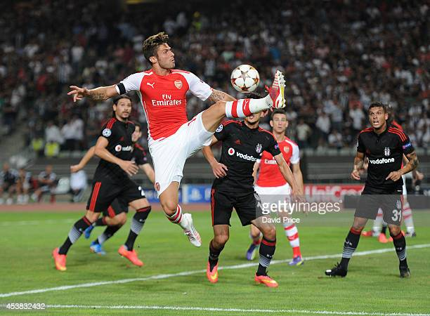 Olivier Giroud of Arsenal during the UEFA Champions League playoff first leg between Besiktas JK and Arsenal FC on August 19 2014 in Istanbul Turkey