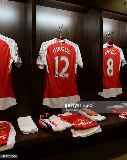 Olivier Giroud of Arsenal kit in the changing room before the match between Arsenal and Everton at Singapore National Stadium on July 18 2015 in...