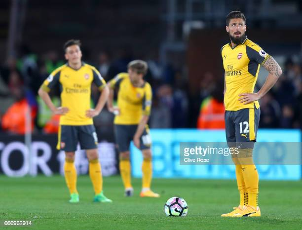 Olivier Giroud of Arsenal looks dejected during the Premier League match between Crystal Palace and Arsenal at Selhurst Park on April 10 2017 in...