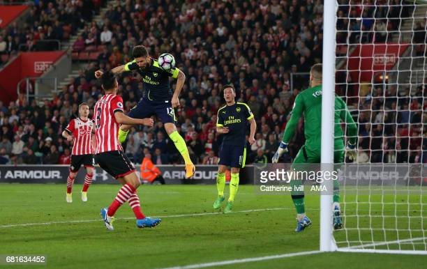 Olivier Giroud of Arsenal scores a goal to make it 02 during the Premier League match between Southampton and Arsenal at St Mary's Stadium on May 10...