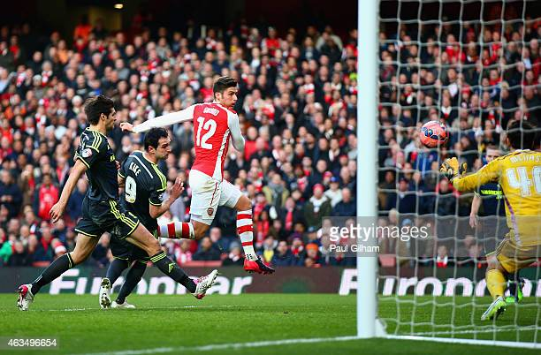 Olivier Giroud of Arsenal scores their second goal during the FA Cup fifth round match between Arsenal and Middlesbrough at Emirates Stadium on...