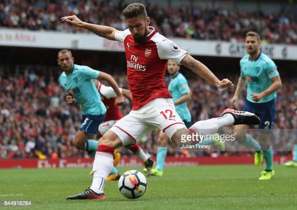Olivier Giroud of Arsenal shoots at goal during the Premier League match between Arsenal and AFC Bournemouth at Emirates Stadium on September 9 2017...
