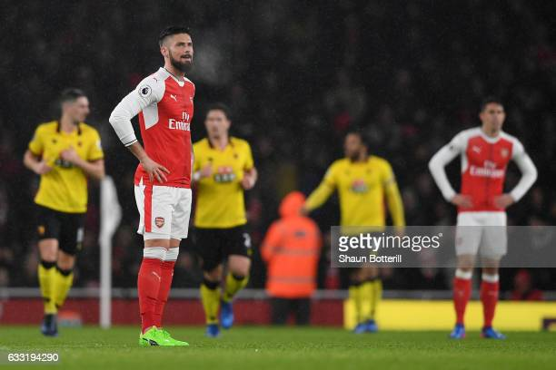 Olivier Giroud of Arsenal shows dejection after Watford's goal during the Premier League match between Arsenal and Watford at Emirates Stadium on...