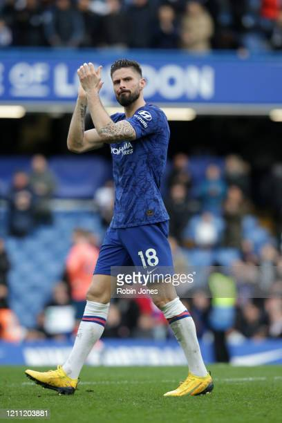 Olivier Giroud of Chelsea after his sides 40 win during the Premier League match between Chelsea FC and Everton FC at Stamford Bridge on March 08...
