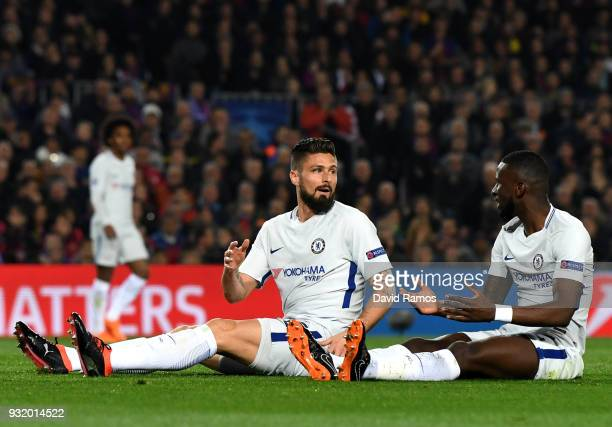 Olivier Giroud of Chelsea and Antonio Rudiger of Chelsea react as they miss a chance during the UEFA Champions League Round of 16 Second Leg match FC...