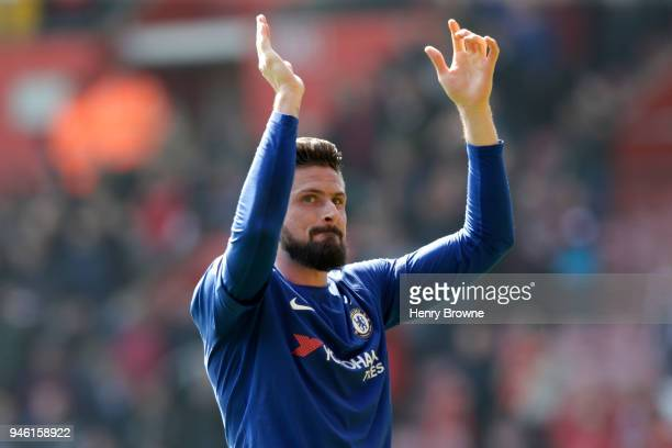 Olivier Giroud of Chelsea applauds fans after the Premier League match between Southampton and Chelsea at St Mary's Stadium on April 14 2018 in...