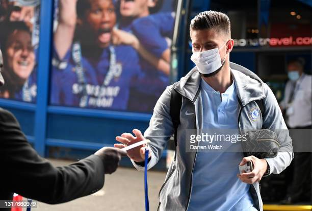 Olivier Giroud of Chelsea arrives ahead of the Premier League match between Chelsea and Arsenal at Stamford Bridge on May 12, 2021 in London,...