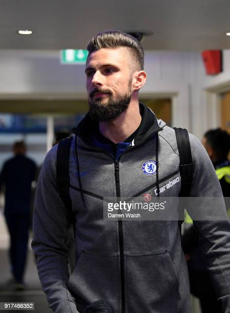 Olivier Giroud of Chelsea arrives at the stadium prior to the Premier League match between Chelsea and West Bromwich Albion at Stamford Bridge on...
