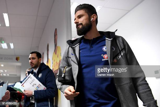 Olivier Giroud of Chelsea arrives for the Premier League match between Watford and Chelsea at Vicarage Road on February 5 2018 in Watford England
