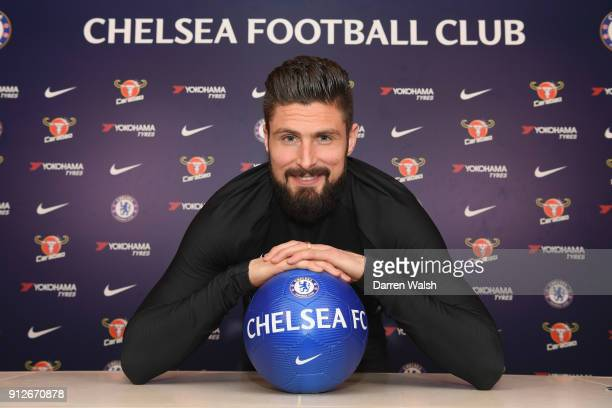 Olivier Giroud of Chelsea at Chelsea Training Ground on January 31 2018 in Cobham England