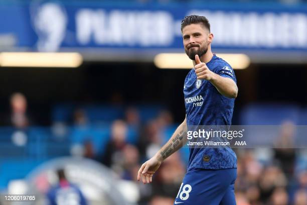 Olivier Giroud of Chelsea at full time of the Premier League match between Chelsea FC and Everton FC at Stamford Bridge on March 8 2020 in London...