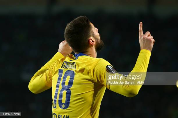 Olivier Giroud of Chelsea celebrates after scoring a goal to make it 02 during the UEFA Europa League Round of 32 First Leg match between Malmo FF...