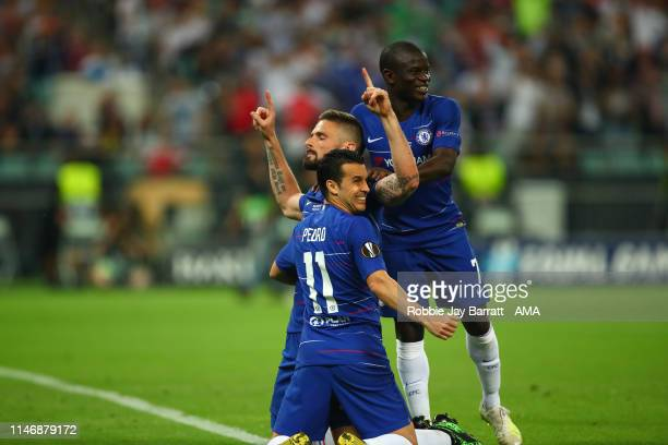 Olivier Giroud of Chelsea celebrates after scoring a goal to make it 10 during the UEFA Europa League Final between Chelsea and Arsenal at Baku...