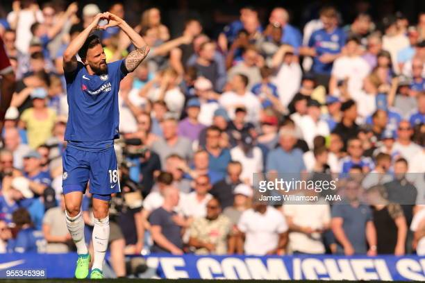 Olivier Giroud of Chelsea celebrates after scoring a goal to make it 10 during the Premier League match between Chelsea and Liverpool at Stamford...