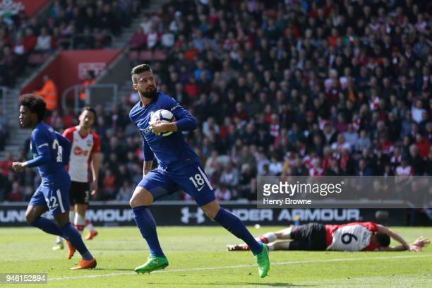 Olivier Giroud of Chelsea celebrates after scoring his sides first goal during the Premier League match between Southampton and Chelsea at St Mary's...