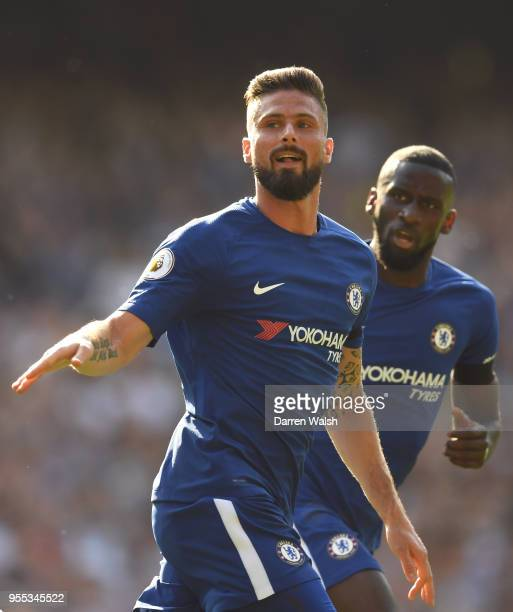 Olivier Giroud of Chelsea celebrates after scoring his sides first goal during the Premier League match between Chelsea and Liverpool at Stamford...