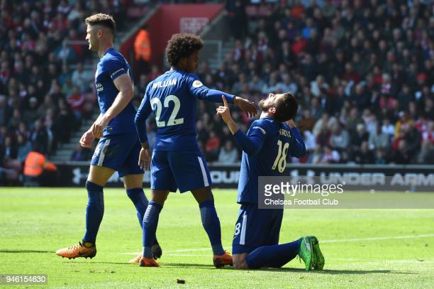 Olivier Giroud of Chelsea celebrates after scoring his sides third goal during the Premier League match between Southampton and Chelsea at St Mary's...