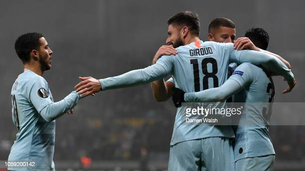 Olivier Giroud of Chelsea celebrates after scoring his team's first goal with Eden Hazard and team mates during the UEFA Europa League Group L match...