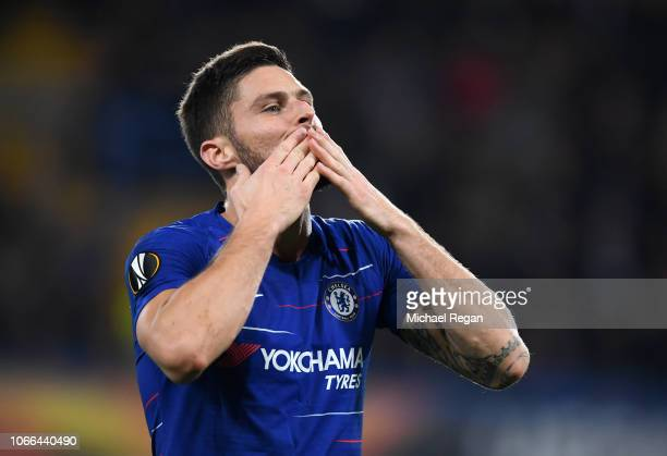Olivier Giroud of Chelsea celebrates after scoring his team's first goal during the UEFA Europa League Group L match between Chelsea and PAOK at...