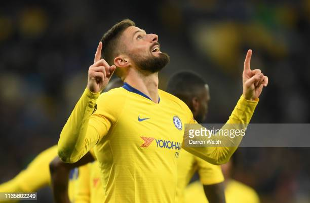 Olivier Giroud of Chelsea celebrates after scoring his team's first goal during the UEFA Europa League Round of 16 Second Leg match between Dynamo...