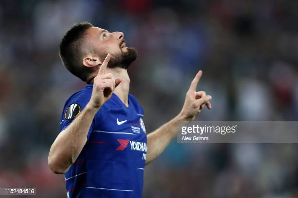 Olivier Giroud of Chelsea celebrates after scoring his team's first goal during the UEFA Europa League Final between Chelsea and Arsenal at Baku...