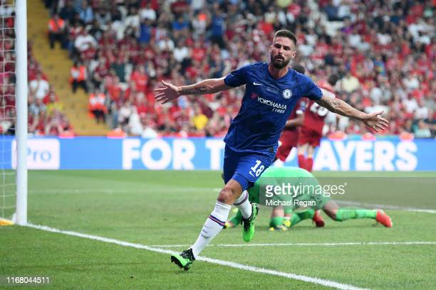 Olivier Giroud of Chelsea celebrates after scoring his team's first goal during the UEFA Super Cup match between Liverpool and Chelsea at Vodafone...