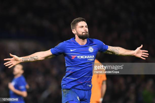 Olivier Giroud of Chelsea celebrates after scoring his team's second goal during the UEFA Europa League Group L match between Chelsea and PAOK at...