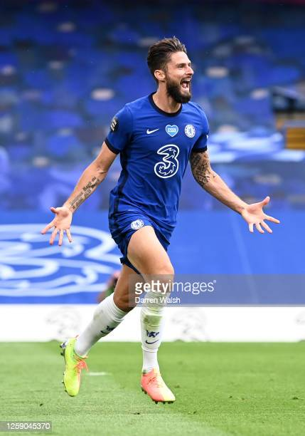 Olivier Giroud of Chelsea celebrates after scoring his team's second goal during the Premier League match between Chelsea FC and Wolverhampton...