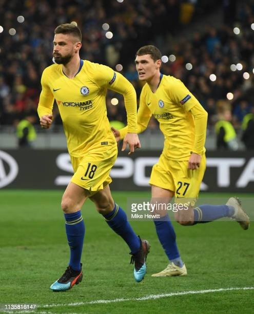 Olivier Giroud of Chelsea celebrates after scoring his third and his team's fourth goal during the UEFA Europa League Round of 16 Second Leg match...