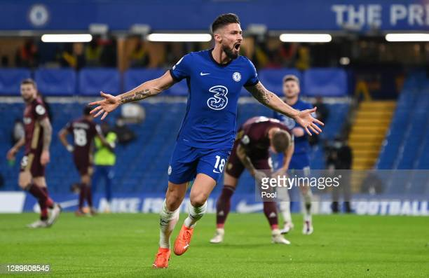 Olivier Giroud of Chelsea celebrates after scoring their team's first goal during the Premier League match between Chelsea and Leeds United at...