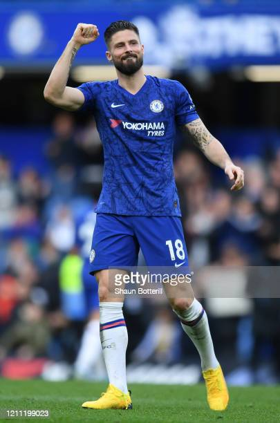 Olivier Giroud of Chelsea celebrates at the end of the Premier League match between Chelsea FC and Everton FC at Stamford Bridge on March 08 2020 in...