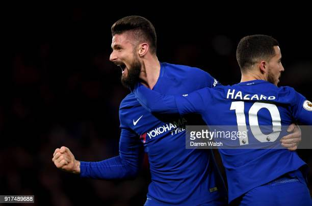 Olivier Giroud of Chelsea celebrates his sides first goal during the Premier League match between Chelsea and West Bromwich Albion at Stamford Bridge...