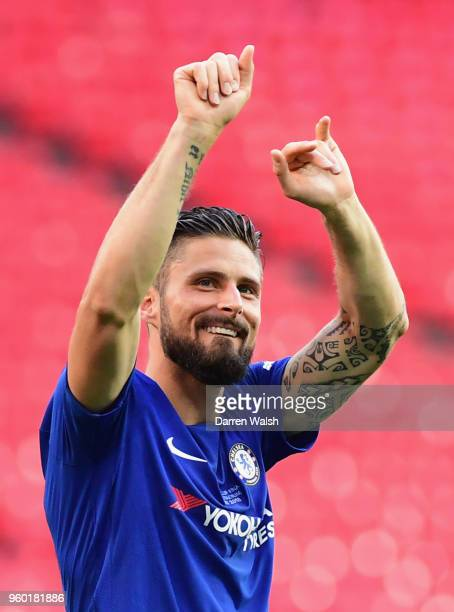 Olivier Giroud of Chelsea celebrates his side's victory following The Emirates FA Cup Final between Chelsea and Manchester United at Wembley Stadium...