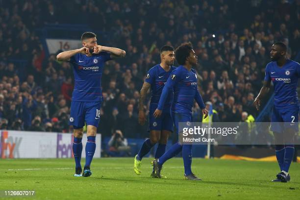 Olivier Giroud of Chelsea. Celebrates scoring a goal during the Europa League Round of 32, second leg match between Chelsea and Malmo FF at Stamford...