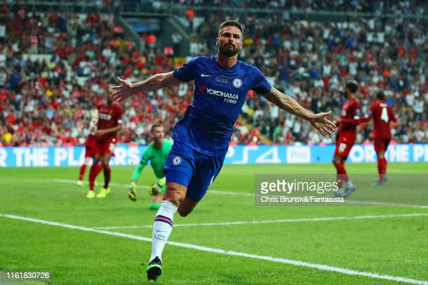 Olivier Giroud of Chelsea celebrates scoring a goal to make the score 0-1 during the UEFA Super Cup match between Liverpool and Chelsea at Vodafone...