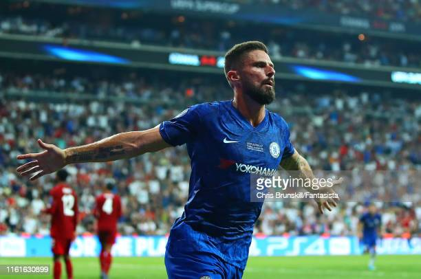 Olivier Giroud of Chelsea celebrates scoring a goal to make the score 01 during the UEFA Super Cup match between Liverpool and Chelsea at Vodafone...
