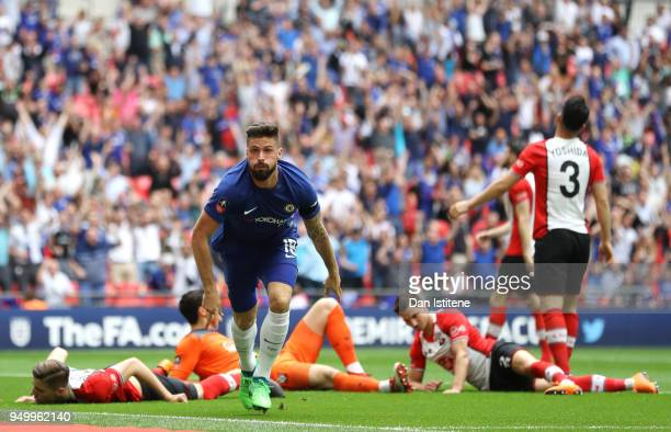 Olivier Giroud of Chelsea celebrates scoring his side's first goal during the The Emirates FA Cup Semi Final match between Chelsea and Southampton at...