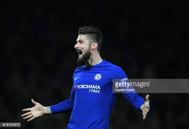 Olivier Giroud of Chelsea celebrates scoring his sides fourth goal during the Emirates FA Cup Fifth Round match between Chelsea and Hull City at...