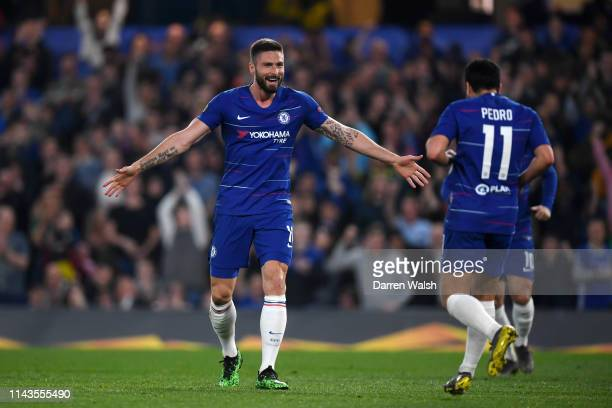 Olivier Giroud of Chelsea celebrates scoring his sides third goal during the UEFA Europa League Quarter Final Second Leg match between Chelsea and...