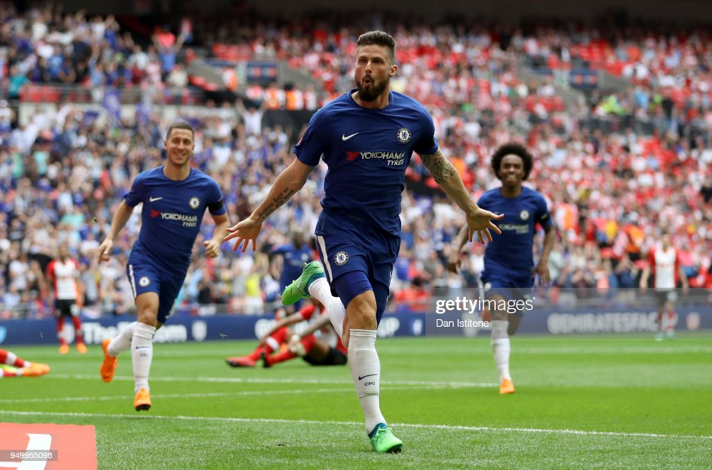 Olivier Giroud of Chelsea celebrates scoring the first goal during the The Emirates FA Cup Semi Final match between Chelsea and Southampton at Wembley Stadium on April 22, 2018 in London, England.