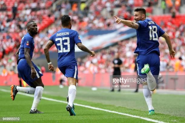 Olivier Giroud of Chelsea celebrates scoring the first goal with Emerson Palmieri and Antonio Rudiger of Chelsea during the The Emirates FA Cup Semi...