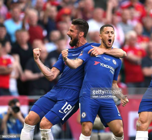 Olivier Giroud of Chelsea celebrates the opening goal scored by Eden Hazard during the Emirates FA Cup Final between Chelsea and Manchester United at...